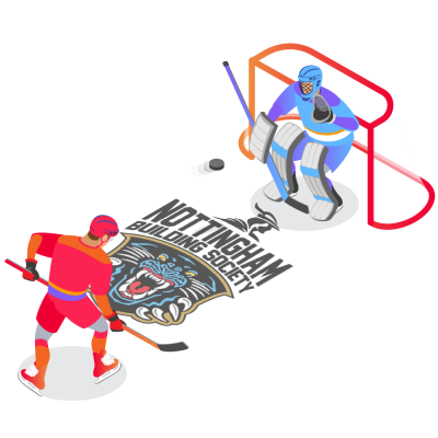 Hockey Goalkeeper Standing in Front of Goalposts With Hockey Puck fired from a player Nott Panthers