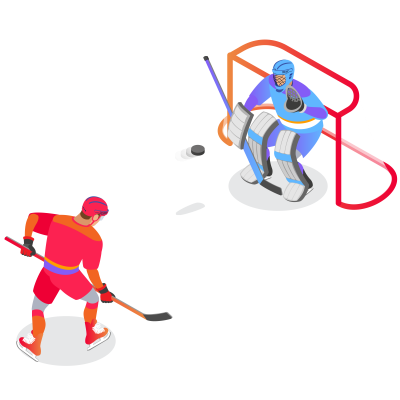 Hockey Goalkeeper Standing in Front of Goalposts With Hockey Puck fired from a player@4x
